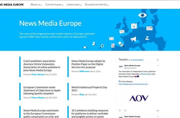 Czech publishers association Asociace Online Vydavatelu (Association of online publishers) joins News Media Europe